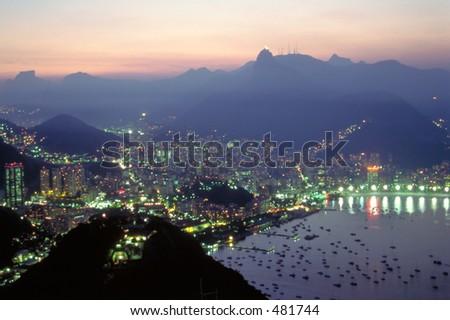 Night Falls over Rio de Janeiro, Brazil