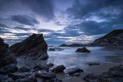 Night falls over the Cornwall Coast at Sharrow beach on Whitsand Bay