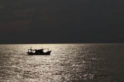 Night fishing boat.A voyage at sea by small boat.