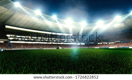 Night football arena in lights close up. soccer stadium.