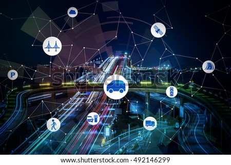 Photo of night freeway background and smart transportation, abstract image visual