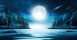 Night futuristic seascape. Reflection of the moon on sea water. Large stones, rocks on the shore, trees. Rays of meteorites, neon blue light. Night landscape, islands.