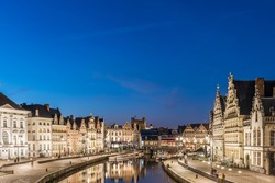 Night Ghent. Belgium.