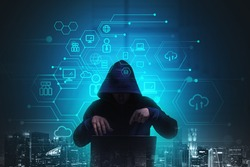 Night hacker with laptop, double exposure hud with data icons and skyscrapers. Cyber attack in global communication network, hack of personal information