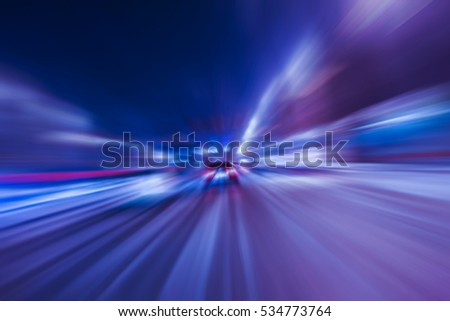 night highway with moving cars #534773764