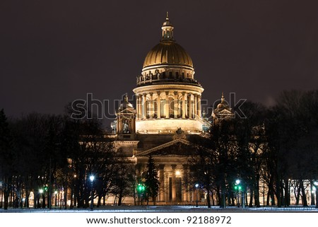 night horizontal view of St. Isaac's Cathedral in Saint Petersburg, Russia