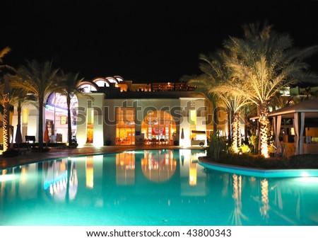 Night illumination in luxury hotel