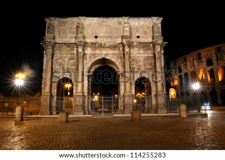 Night image Arch of Constantine in Rome in Italy