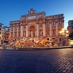 Night image of Trevi Fountain, Rome - Italy.