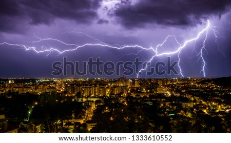 Night image with tunder storm  in Brasov.Panoramic view of the BRASOV old in Transylvania,Romania  Stock fotó ©
