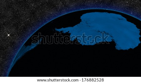 Night in Antarctica with city lights viewed from space. Elements of this image furnished by NASA.