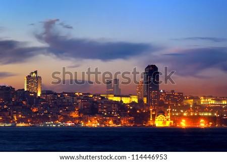 Night in Istanbul. Kabatas - Dolmabahce, Turkey