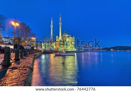 Night in Ortakoy Mosque on the Bosphorus shore at Istanbul - stock photo