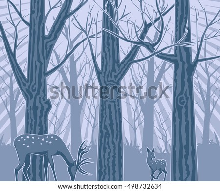 Night in the Deep Forest Illustration