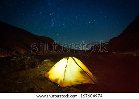 Night in the high mountains  - stock photo
