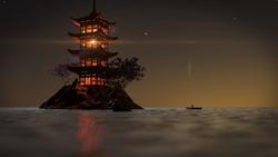 Night Japan Pagoda. 4K resolution. 3D render