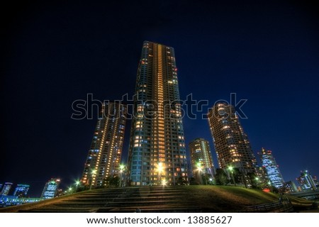 Night landscape at riverside buildings in Tokyo