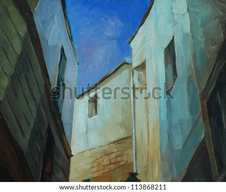 night landscape in gothic quarter of barcelona,  illustration, painting