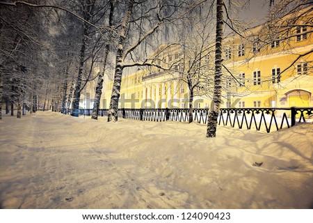 Night landscape in winter city