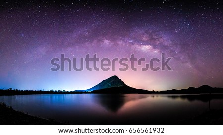 night landscape mountain and milkyway  galaxy background , thailand , long exposure ,low light   #656561932