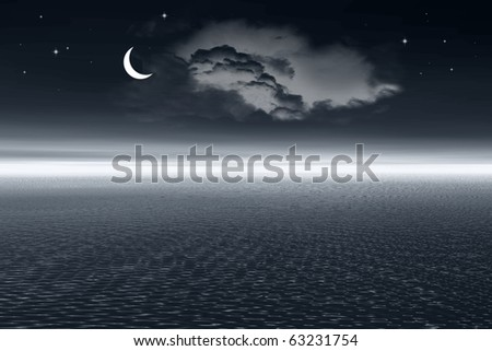 Night landscape - ocean and moon