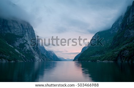 Night landscape of Lysefjord. Fairy tale of Norway fjords nature. #503466988