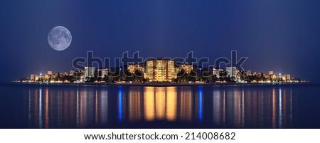 night landscape panorama sea hotels lights
