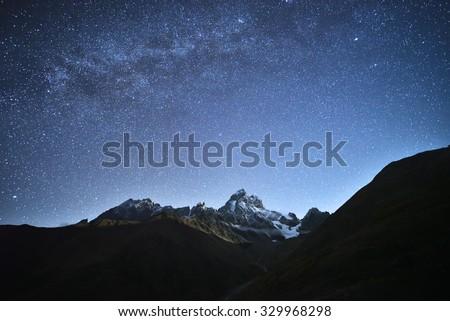 night landscape. starry sky...