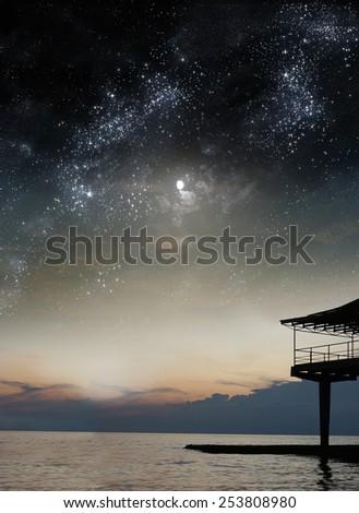 night landscape, the sky, the stars, the sea shore