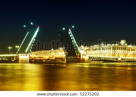 Night landscape with a bridge of Saint-Petersburg Russia