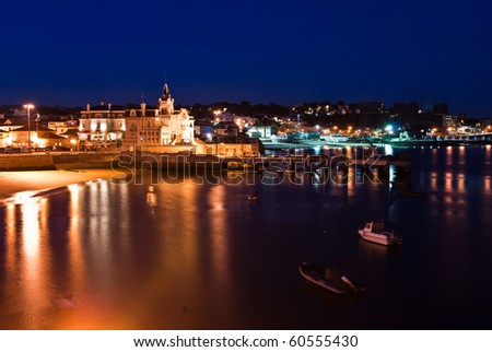 Night  landscape with beach and boats in Praia dos Pescadores (Cascais)