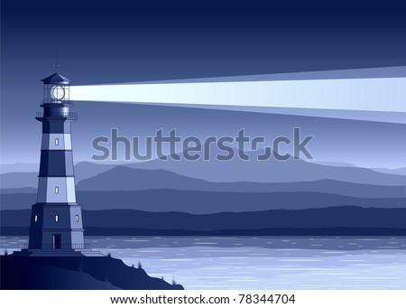 Night  landscape with detailed lighthouse, mountains and sea. Raster illustration.