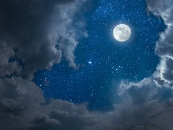 Night landscape with full moon and stars in sky