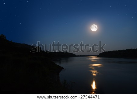 night landscape with moon and moonbeam in river