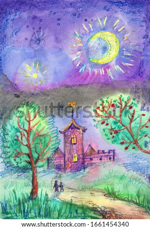 Night landscape with moon, stars and a fairy-tale castle. On the way to the tower of the castle are two travelers. The illustration is drawn in watercolors and oil pastels in a children's style.