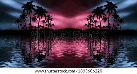 Night landscape with palm trees, against the backdrop of a neon sunset, stars. Silhouette coconut palm trees on beach at sunset. Space futuristic neon landscape. Beach party. 3D illustration. Foto stock ©