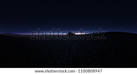 Night landscape with stars and the full moon. Panorama, environment 360 HDRI map. Equirectangular projection, spherical panorama. 3d illustration
