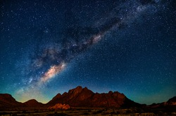 Night landscape with the Milky Way in Namibia in the Spitzkoppe area