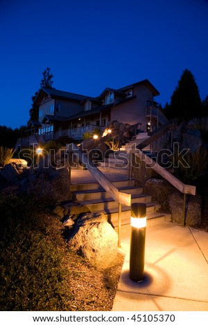 Night landscaping and architecture in the Pacific Northwest