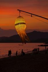 Night latern. Beautiful twilight seascape with islands on horizon. Thailand, Krabi.