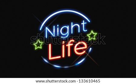 Night Life neon sign with green stars