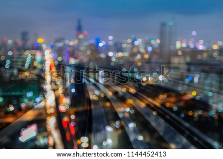 Night light city downtown double exposure train tack, abstract background #1144452413