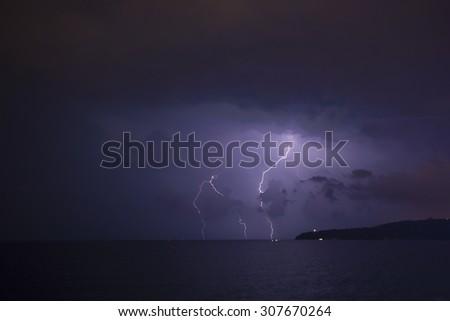 night light in the sea sky