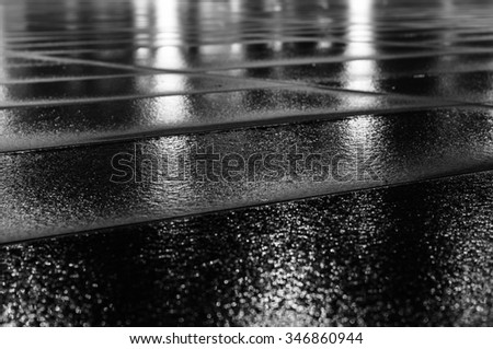 Night light reflection on wet paving slab after rain. Black and white image with selective focus #346860944