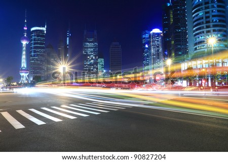 Night Light trace modern architecture  background  in Shanghai, China - stock photo
