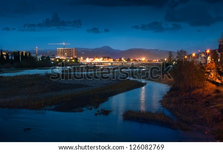 Night lights of the city and river