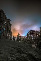 Night lights on the fell of Levi