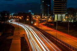 Night long exposure road rail photography.