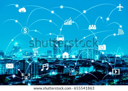 night modern city with internet of things (IOTs) on the sky #655541863