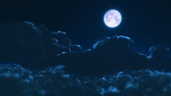 Night moon and clouds,3D rendering ,3D Illustration